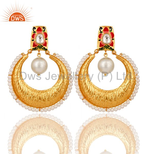 Crystal Quartz and Pearl Textured Yellow Gold Plated Silver Stud Enamel Earring