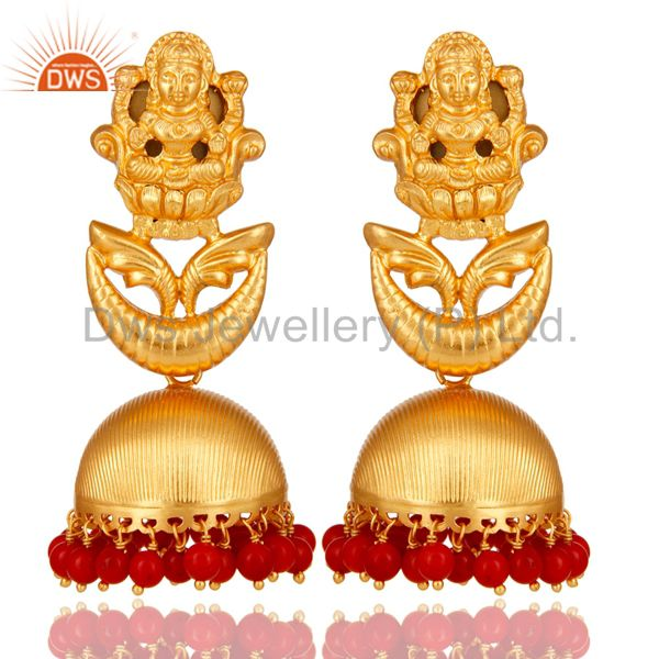 18K Gold Plated Sterling Silver Temple Jewelry Jhumka Earring with Coral