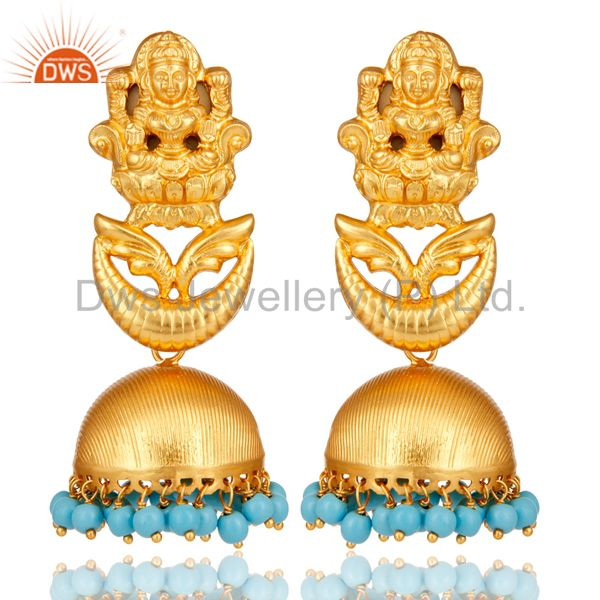 18K Gold Plated Sterling Silver Cultured Turquoise Temple Jewelry Earrings