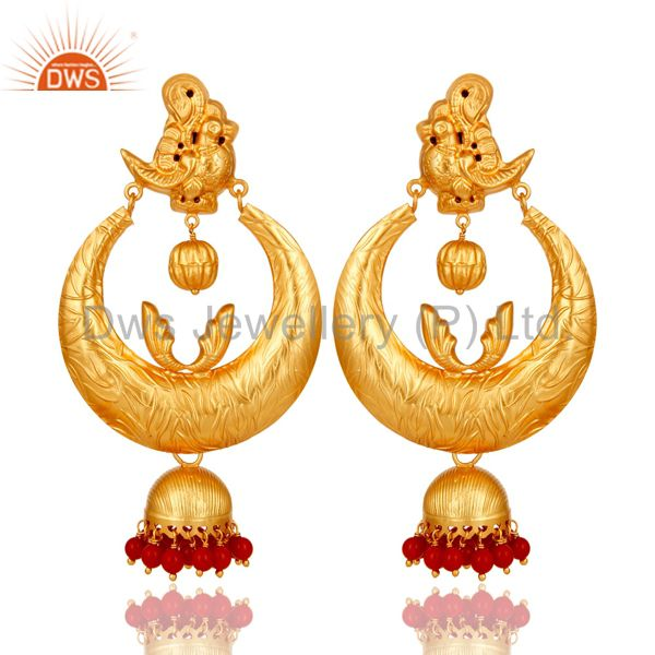 18K Gold Plated Sterling Silver Coral Temple Jewelry Earring