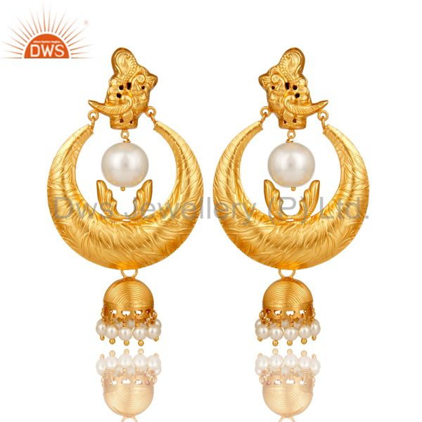18K Gold Plated Sterling Silver White Pearl Temple Jewelry Earring