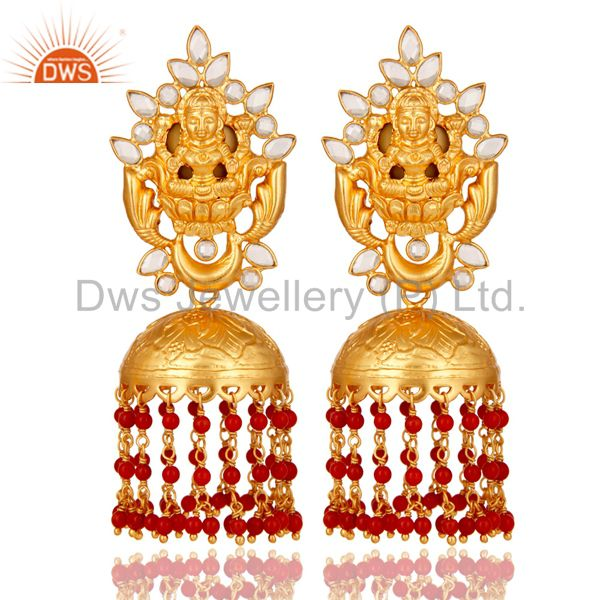 18K Gold Plated Sterling Silver Coral and CZ Temple Jewelry Earring Jhumki
