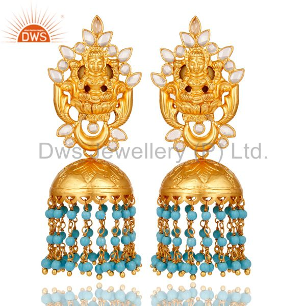 18K Gold Plated Sterling Silver Turquoise and CZ Temple Jewelry Earring Jhumki