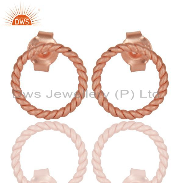 18K Rose Gold Plated 925 Sterling Silver Handmade Twisted Wire Studs Earrings