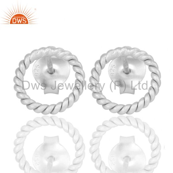 Solid 925 Sterling Silver Twisted Wire Stud