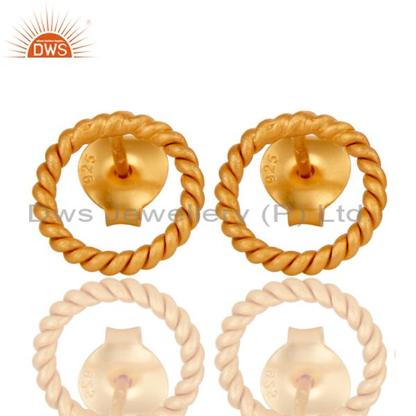 18K Yellow Gold Plated 925 Sterling Silver Handmade Twisted Wire Studs Earrings