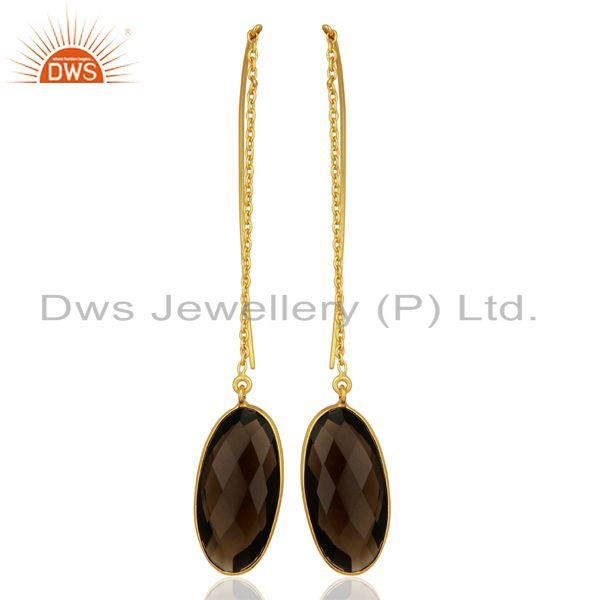 Smoky Quartz Gemstone Gold Plated 925 Silver Chain Earring Supplier