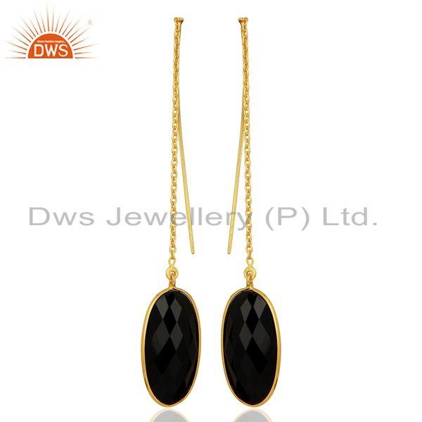 Gold Plated 925 Silver Black Onyx Gemstone Chain Earring Manufacturer