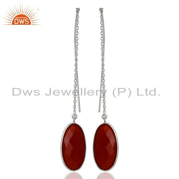 Red Onyx Gemstone 925 Sterling Fine Silver Chain Earrings Manufacturer