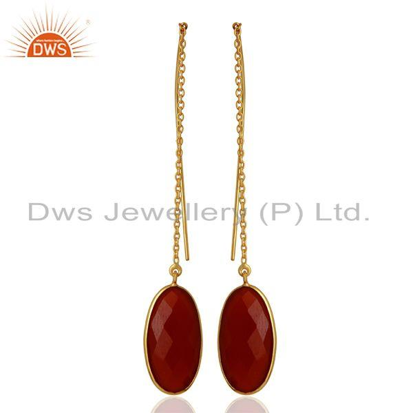 Red Onyx Gemstone Gold Plated 925 Silver Chain Earrings Manufacturer