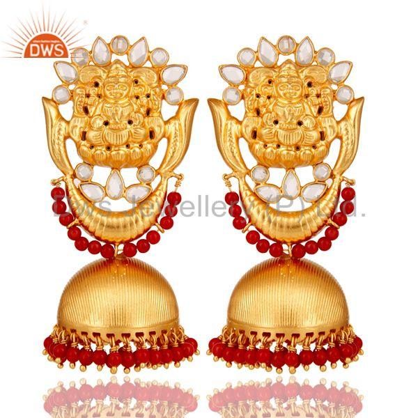 18K Gold Plated Sterling Silver Temple Jewelry Coral and CZ Earring Jhumka