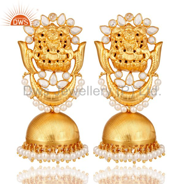 18K Gold Plated Sterling Silver Temple Jewelry Pearl and CZ Earring Jhumka