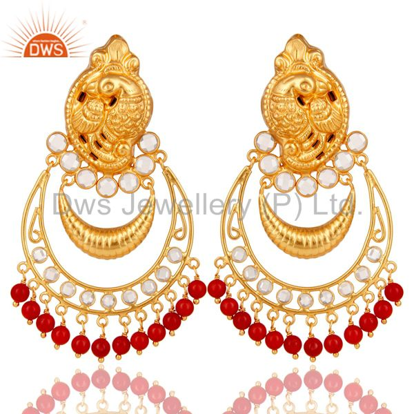 Coral and CZ 18K Gold Plated Sterling Silver Jhumka Earring Temple Jewelry