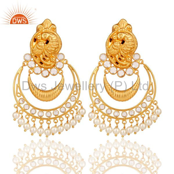 Pearl and CZ 18K Gold Plated Sterling Silver Jhumka Earring Temple Jewelry
