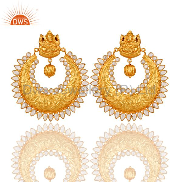Pearl and 18K Gold Plated Sterling Silver Temple Jewelry Earring