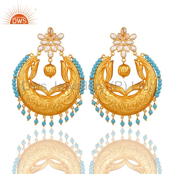 Turquoise and Cubic Zircon Sterling Silver 18K Gold Plated Chand Bali Earring