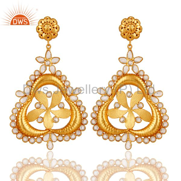 White Zircon 18K Gold Plated Sterling Silver Earring