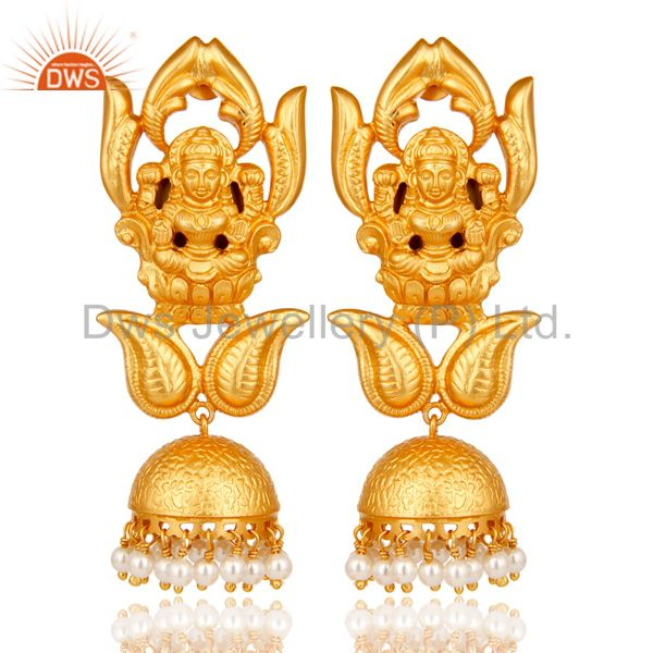 Natural Pearl 18K Gold Plated Sterling Silver Hindu God Jhumka Earrings