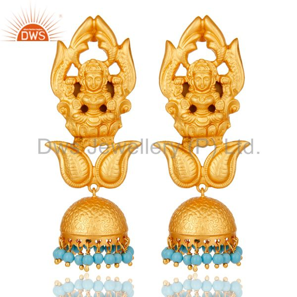 Cultured Turquoise 18K Gold Plated Sterling Silver Jhumka Earring Temple Jewelry