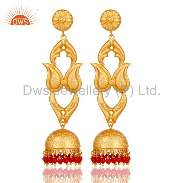 18K Gold Plated Sterling Silver Coral Jhumka Earring Traditional