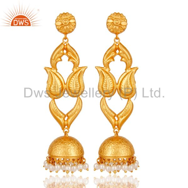 18K Gold Plated Sterling Silver Pearl Jhumka Earring Traditional
