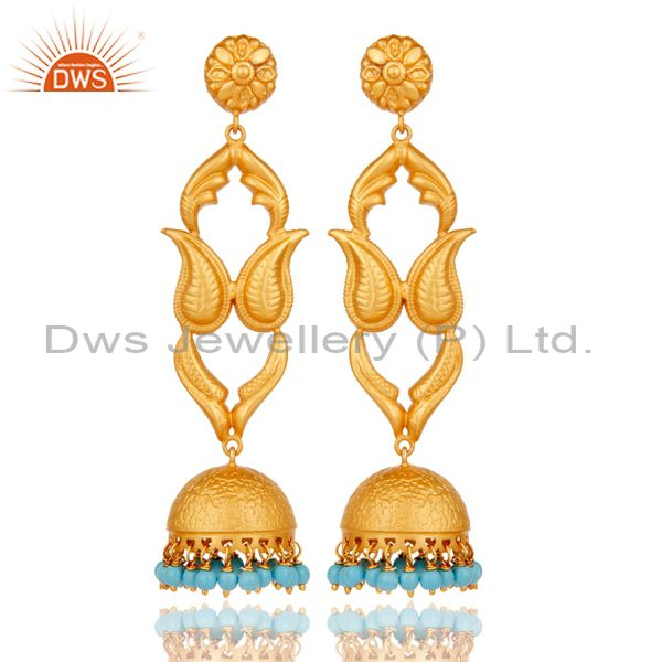 18K Gold Plated Sterling Silver Turquoise Jhumka Earring Traditional