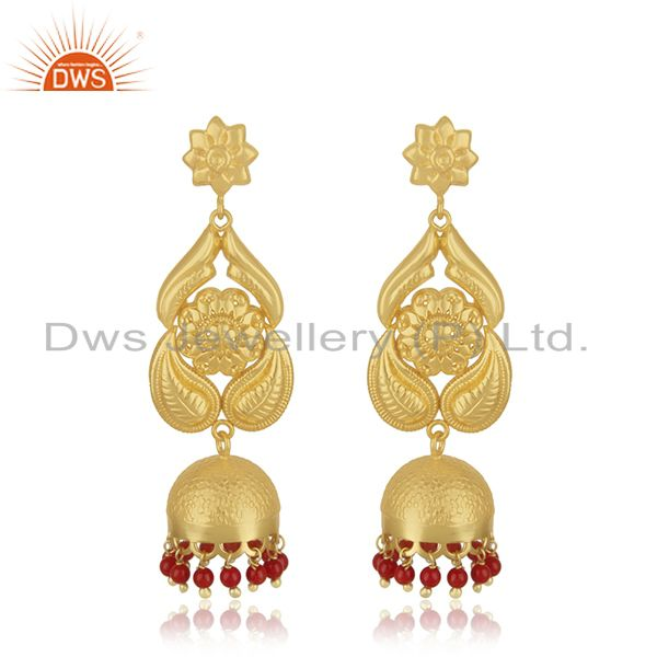 18K Gold Plated Sterling Silver Traditional Jhumka Earring With Coral