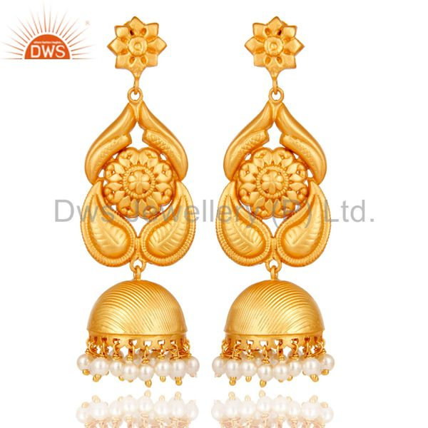 18K Gold Plated Sterling Silver Traditional Jhumka Earring With Pearl