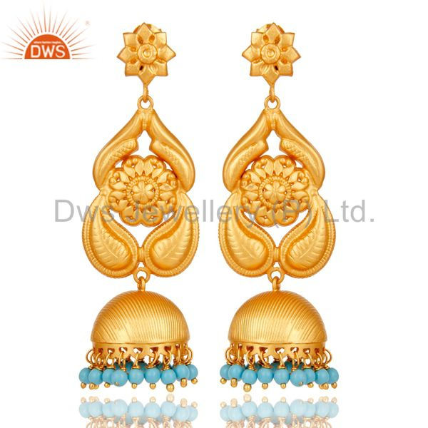 18K Gold Plated Sterling Silver Traditional Jhumka Earring With Turquoise