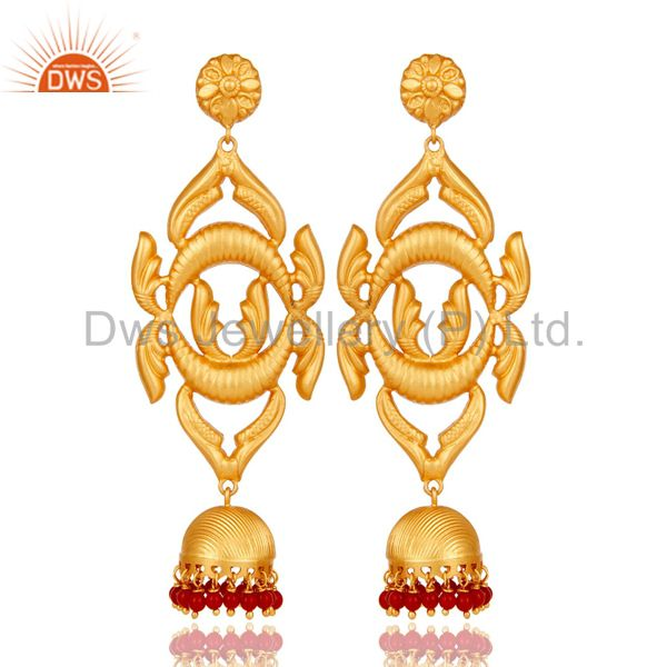 18K Gold Plated Sterling Silver Traditional Design Jhumka Earring With Coral