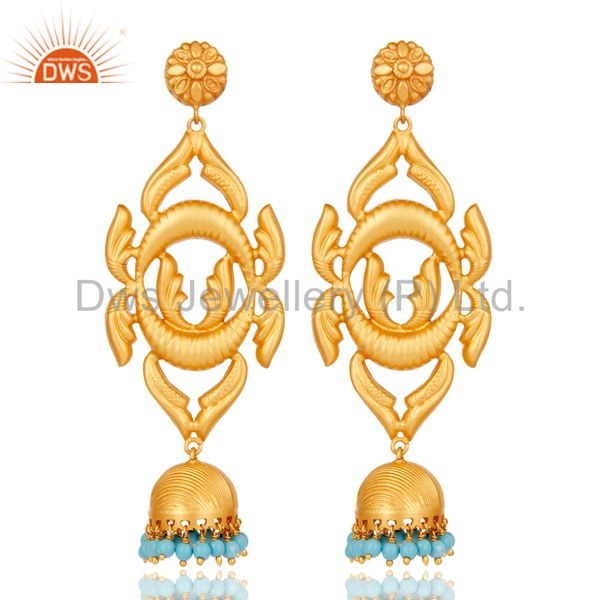 18K Gold Plated Traditional 925 Sterling Silver Turquoise Jhumka Earrings
