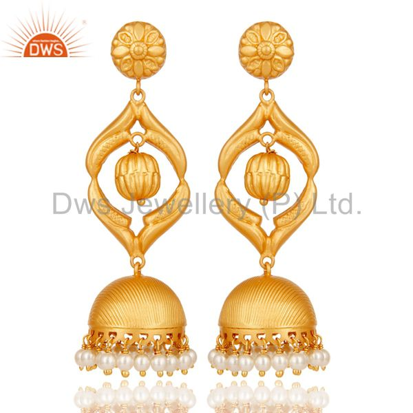Cultured Pearl Traditional Jhumka Earring 18K Gold Plated Sterling Silver Jhumki