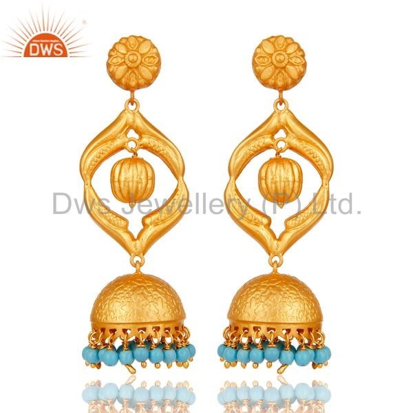 Turquoise Traditional Jhumka Earring 18K Gold Plated Sterling Silver Jhumki