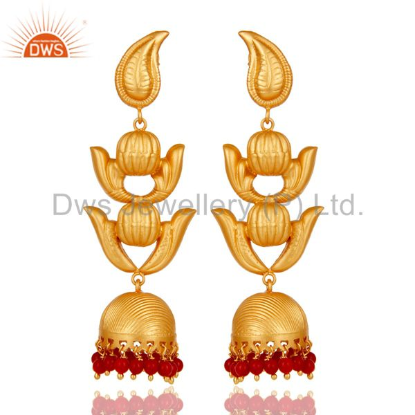 Traditional Jhumka Earring with 18K Gold Plated Sterling Silver and Coral