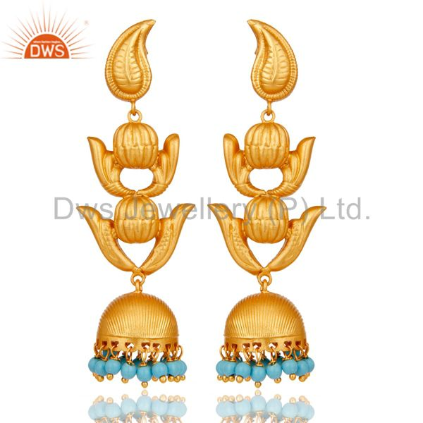 Traditional Jhumka Earring with 18K Gold Plated Sterling Silver and Turquoise