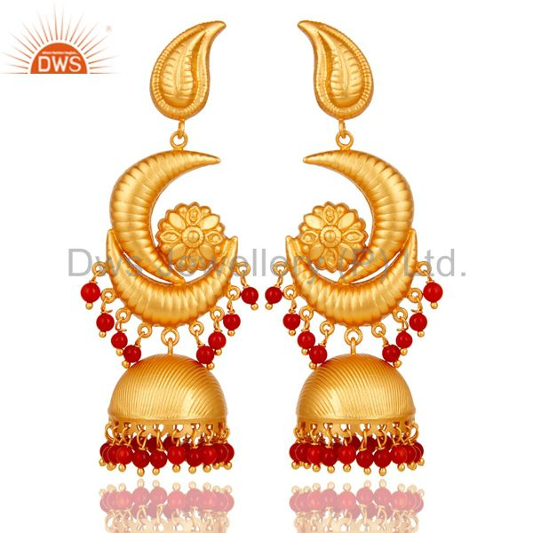 Traditional Jhumka Earring with 18K Gold Plated 925 Sterling Silver and Coral