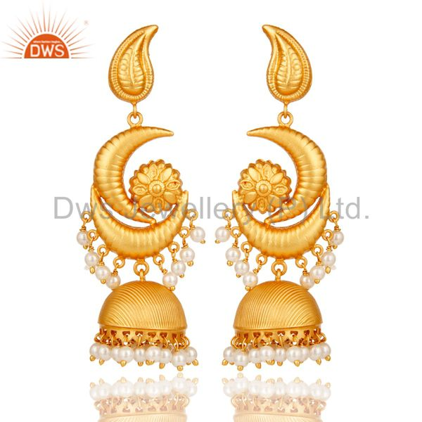 Traditional Jhumka Earrings With 18K Gold Plated Sterling Silver &  Pearl