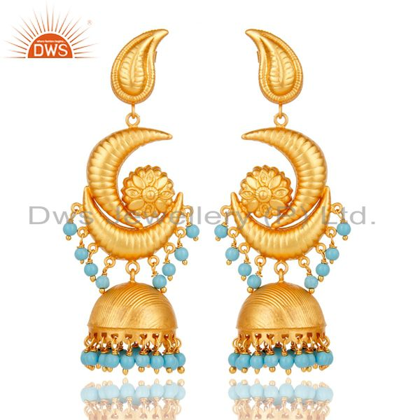18K Yellow Gold Plated 925 Sterling Silver Turquoise Traditional Jhumka Earring