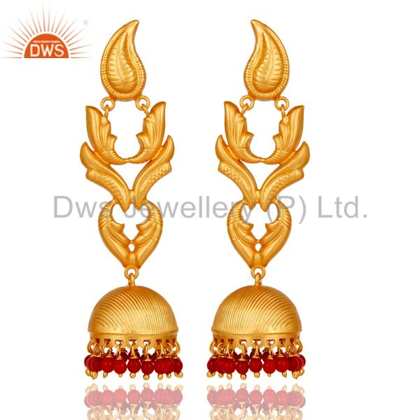 Traditional Jhumka Earrings With 18K Gold Plated 925 Sterling Silver And Coral