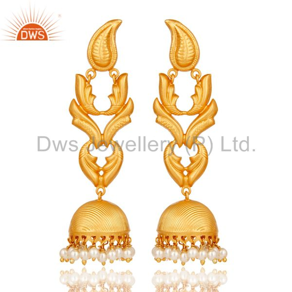 Traditional Jhumka Earrings With 18K Gold Plated 925 Sterling Silver & Pearl