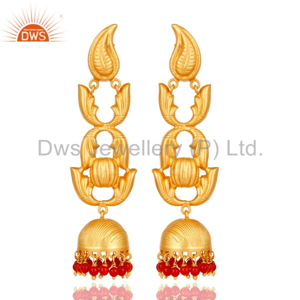 Traditional 18k Gold Plated Jhumka Earrings With Coral