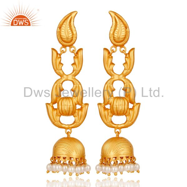 Traditional 18k Gold Plated Jhumka Earrings With Pearl