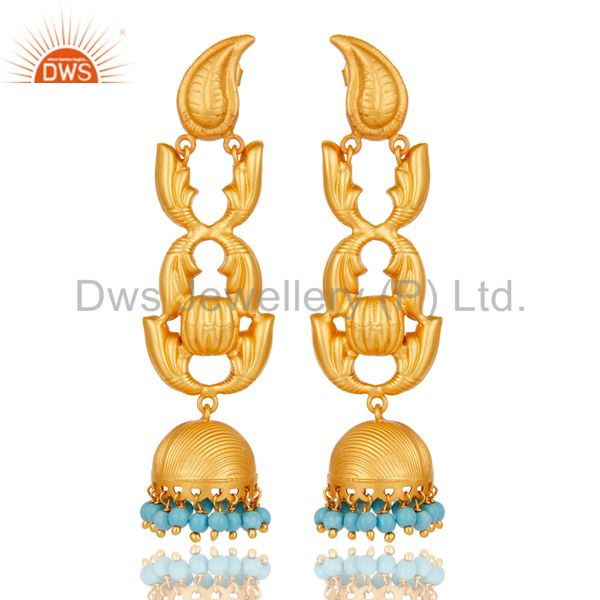 18K Gold Plated Sterling Silver and Turquoise Traditional Jhumka Earrings