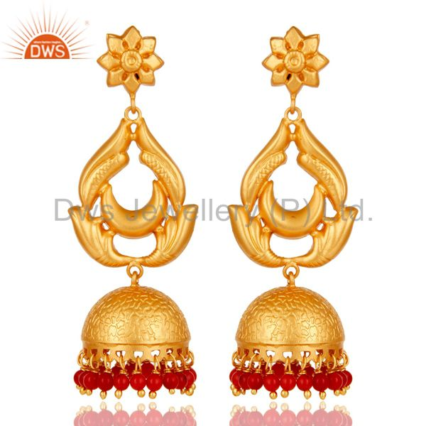 18K Gold Plated Sterling Silver and Coral Traditional Design Jhumka Earrings