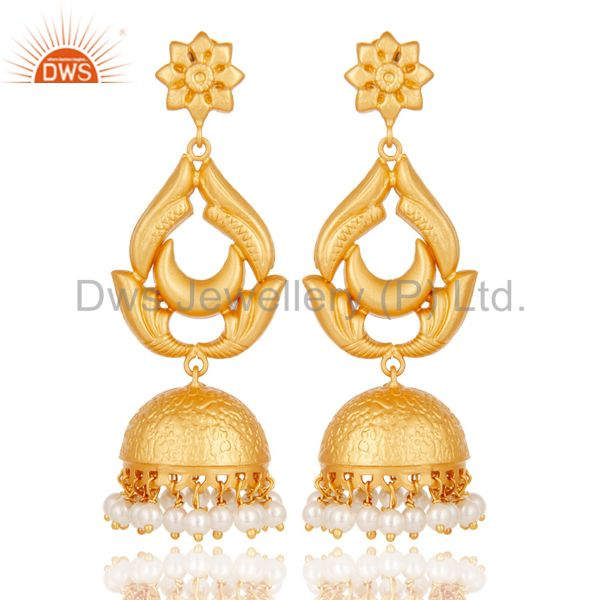 18K Gold Plated Sterling Silver and Pearl Traditional Design Jhumka Earrings