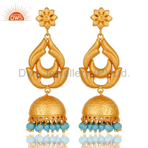 18K Gold Plated 925 Sterling Silver Traditional Turquoise Jhumka Earrings
