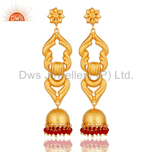 18K Gold Plated Sterling Silver With Coral Traditional Design Jhumka Earrings
