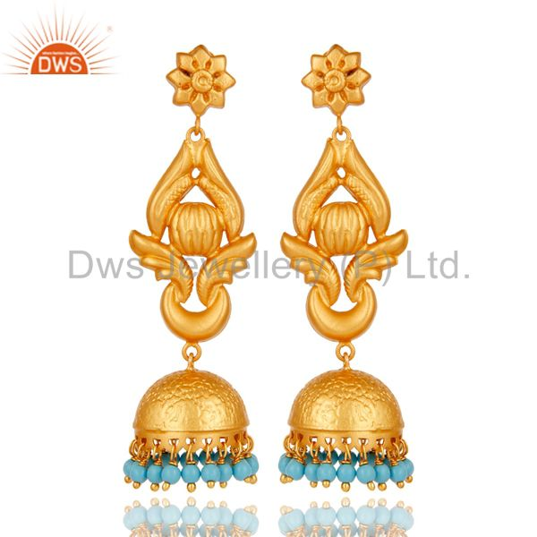 22K Gold Plated 925 Silver Traditional Handmade Turquoise Jhumka Earrings