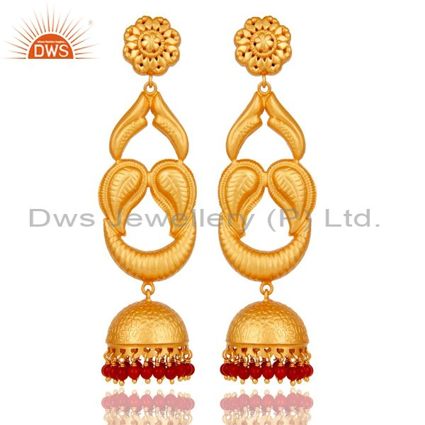 18k Gold Plated Designer JhumkaEarrings With Sterling Silver And turquoise