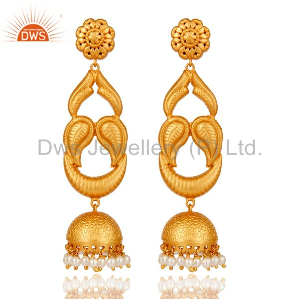 18k Gold Plated Designer Jhumka Earrings With 925 Sterling Silver & Pearl